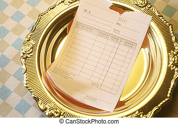 stock image of the receipt on plate