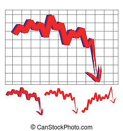 stock index arrow - stocks index downward arrow vector,...