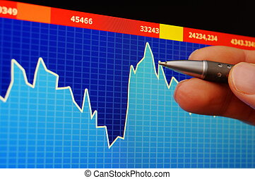 stock index on computer screen an hand...