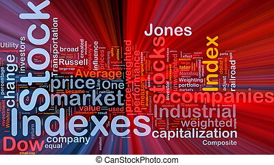 Stock indexes background concept glowing