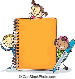 stock, kinder, mit, riesig, kugelschreiber, notizbuch