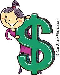 stock, m�dchen, kind, mit, groß, dollarzeichen