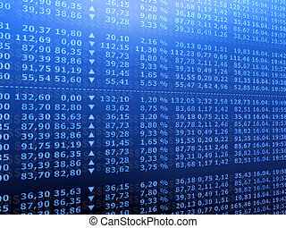 3d rendered illustration of many stock numbers on a board