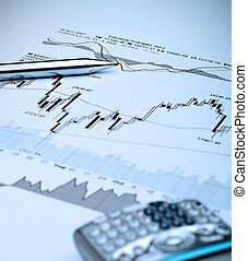 Stock Market Analysis-Blue tint - Business image of stock...