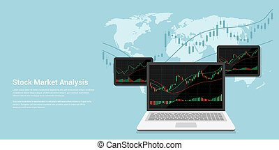 stock market analysis - flact style banner illustration of...