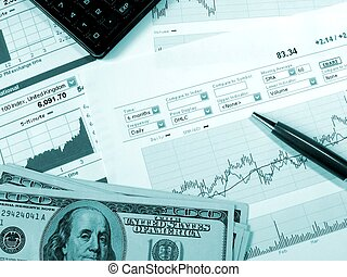 Stock market charts for investor analysis.