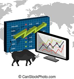 Stock market and exchange graphic icons, vector illustration...