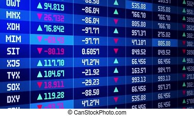 Stock market board 4K loop background. stock exchange, stock market indices or high frequency trading. Bullish market trend, commercial trading cost. Earnings and profit rate.