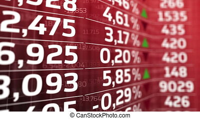 Stock Market board moving up. Red color.