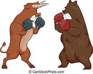 Stock Market Bull and Bear Fight - Illustration Depicting...