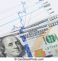 Stock market chart and 100 USA dollars banknote over it - market concept