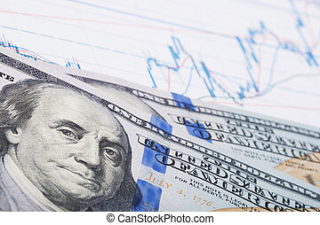 Stock market chart and 100 USA dollars banknote - studio shot