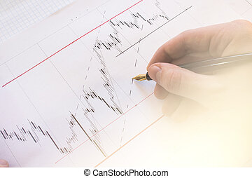 Stock market chart on Forex Charts and money Live online screen. Stock market finance graph. Stock exchange market. Professional bank broker workstation. Graph background. Forex trade. light toning