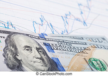 Stock market chart with 100 USA dollars banknote over it - studio shot