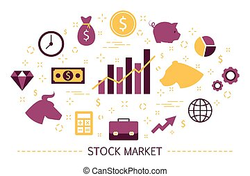 Stock market concept. Bull and bear strategy. Financial