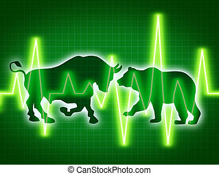 Stock market concept of the animal symbols for buy and sell as a bull and bear for bullish and bearish business and financial trading of investments in corporations with a dark green background.