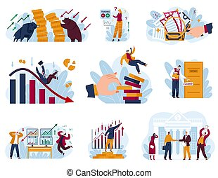 Stock market concept vector illustration set, cartoon flat collection with trader businessman works in financial business data analysis