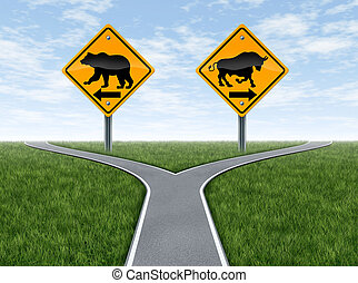 Stock Market crossroads With Bull and Bear Signs - Stock...