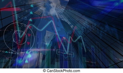 Stock market data and graph against skyscrapers