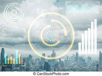 Stock market data on background of cityscape