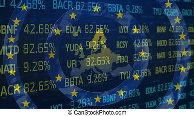 Digital animation of Stock market data processing over yellow circles on spinning circles against EU map. Global economy stock market concept