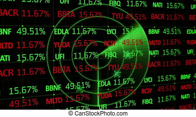 Animation of financial data, statistics recording and green scanner floating on black background. Global finances business concept digitally generated image