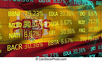 Stock market data processing against Spanish national flag...