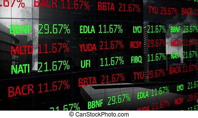 Stock market data processing against tall buildings