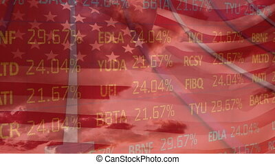Animation of data processing and arrows over U.S. flag waving. United States of America flag and holiday concept digital composition.