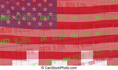 Animation of data processing and white arrows over U.S. flag waving. United States of America flag and holiday concept digital composition.