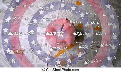 Stock market data processing and piggy back falling against stars on spinning circles