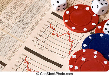 Stock Market Decision - dice and casino chips on a stock...