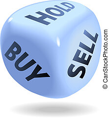 Stock Market Financial Dice Roll BUY SELL HOLD