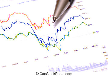 Stock Market Gains - Closeup of stock chart showing gains or...