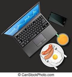 Stock market graph on laptop screen and mobile phone with orange juice and breakfast