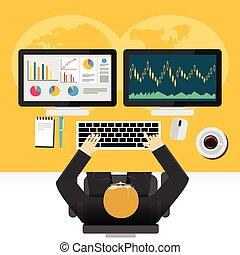 Stock market graphs monitoring concept illustration.