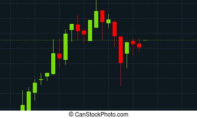 Stock Market Growth and Falling, Japanese Candlestick Graph. Two Animations, Ultra HD 4K 3840x2160.