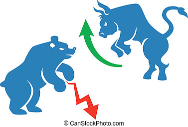 stock market icons - vector stock market icons, bear and...