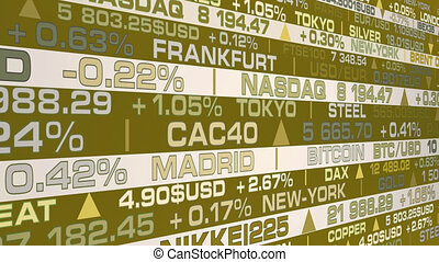 stock market index and real rates with a golden shade - animation