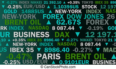 stock market index and real rates with a green shade - animation