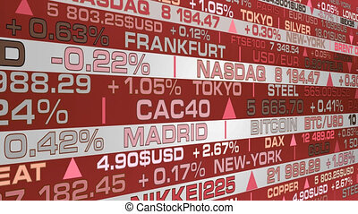 stock market index and real rates with a red shade - animation