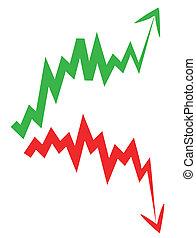 stock market index arrow with upward and downward arrow.