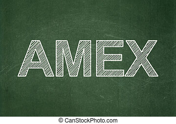 Stock market indexes concept: AMEX on chalkboard background