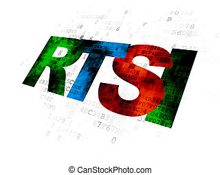 Stock market indexes concept: RTSI on Digital background