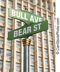 Stock Market Intersection - City streeet sign symbolizing up...