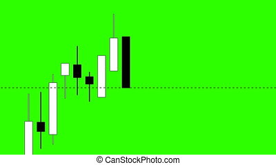 Stock Market, Japanese Candlestick Chart on a Green Background, Seamless Looping Animation Ultra HD 4K 3840x2160