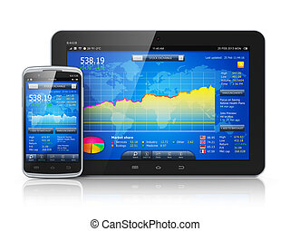 Stock market on mobile devices - Mobile business concept:...