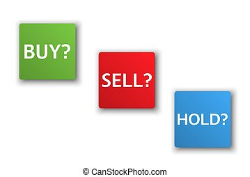 Stock market options, three business variants, buy, sell, hold, sales trade buttons isolated on white background