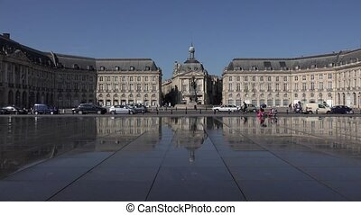 Stock market place in Bordeaux - reflecting pool in the...