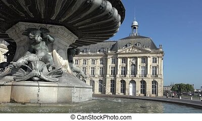 Stock market place in Bordeaux - the Fountain of the Three...